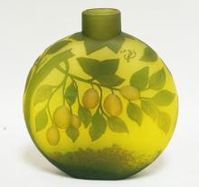 TIP GALLE ART GLASS PILLOW VASE DECORATED WITH FRUIT BEARING TREES. 10 INCHES TALL.