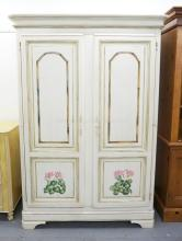 2 DOOR WHITE CUPBOARD WITH PANELED DOORS AND PAINTED WITH FLOWERS. GLASS SHELVES ON THE INTERIOR WITH 2 DRAWERS. 78 INCHES HIGH. 53 INCHES WIDE.