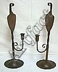 PR OF HAND HAMMERED ARTS & CRAFTS COPPER CANDLESTICKS