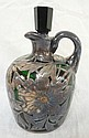 EMERALD GREEN GLASS JUG W/STERLING SILVER OVERLAY;