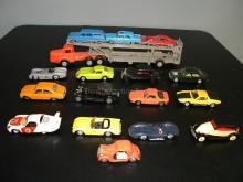 LOT OF VINTAGE NOREV PLASTIC MODEL CARS W/TRANSPORT