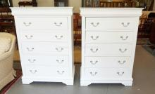 PAIR OF 6 DRAWER CHESTS INCLUDING A HIDDEN DRAWER AT THE TOP. 36 INCHES WIDE. 51 INCHES HIGH.