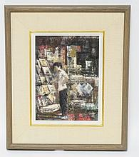 MARTIN JACKSON (1916-1986). OIL PAINTING ON BOARD TITLED *THE NEWS STAND*. 8 1/2 X 11 1/2 INCHES.