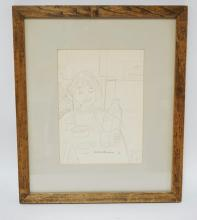 BERTHA H. LEONARD, 1962. INK SIGNED DRAWING OF A GIRL EATING BREAKFAST. 7 1/2 X 10 1/4 INCHES.