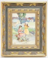 IMPRESSIONIST OIL PAINTING ON BOARD. 4 1/4 X 5 3/4 INCHES. FRAME HAS LOSSES.