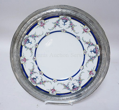 ROYAL WORCESTER *ROSEMARY* PLATE WITH A STERLING SILVER RIM; 12 1/2 IN