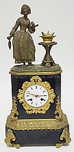 ORNATE 19TH C. FRENCH FIGURAL MANTLE CLOCK