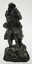 BRONZE FIGURE OF A SOLDIER LIGHTING A CIGARETTE,