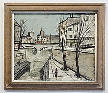 CHARLES LEVIER (1920-2004); OIL ON CANVAS; CITY