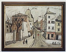 CHARLES LEVIER (1920-2004)' OIL ON CANVAS; CITY