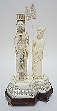 PAIR OF CHINESE IVORY FIGURE GROUPS; CARVED AND