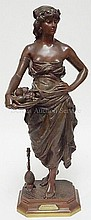 LARGE BRONZE OF A MAIDEN WITH PLATE OF FRUIT &
