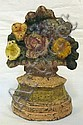 CAST IRON FLOWER BASKET DOOR STOP; 6 3/4 IN H