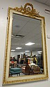LARGE MIRROR IN GILT & WHITE FRAME W/BOW & QUIVER