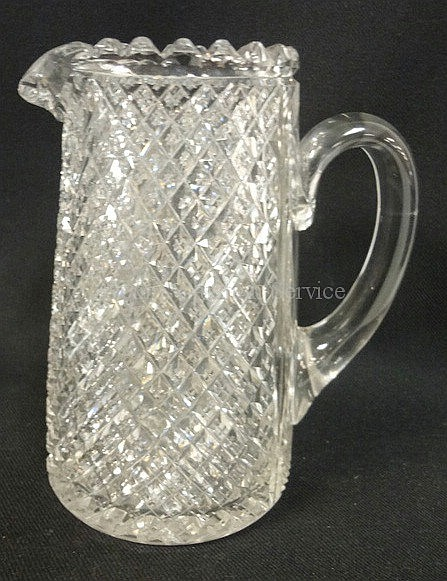 DEEP BRILLIANT CUT GLASS PITCHER; 6 3/4 IN H