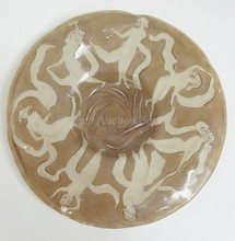 CONSOLIDATED DANCING NUDES 17 3/4 INCH PLATE. FROSTED CRYSTAL W/BROWN STAINED BACKGROUND.