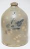 A.J. BUTLER, NEW BRUNSWICK NJ 4 GALLON BLUE DECORATED STONEWARE JUG. 15 3/4 IN. HIGH