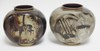 PAIR OF ALP NYLUND DECORATED ART POTTERY VASES. FULLY SIGNED. SWEDEN. 7 1/8 IN HIGH.