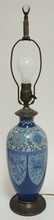 BLUE CLOISONNE LAMP W/DRAGON AND PHOENIX BIRD. 25 3/4 IN TOTAL HEIGHT.