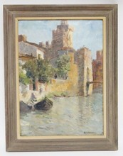 FRAMED O/C CONTINENTAL TOWN SCENE W/CANAL. ARTIST SIGNED LOWER RIGHT. 1903.. 16 1/2 IN X 22 3/4 IN