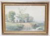 FRAMED FARM SCENE WATERCOLOR. UNSIGNED. 20 1/2 IN X 13 1/4 IN.