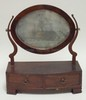 19TH C. MAHOGANY 2 DRW. SHAVING MIRROR. ONE PIECE VENEER OFF LOWER FRONT- HAVE PIECE. MIRROR NEEDS RE-SILVER. 15 1/2 IN WIDE, 18 1/2 IN H.