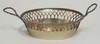 HAND MADE SILVER BOWL W/RETICULATED RIM AND TWIST HANDLES. HALLMARKED. 13 LOTH MARK, .813 SILVER. 3.5 T. OZ. 3 5/8 IN X  4 3/4 IN EXCLUDING HANDLES.