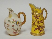 2 ROYAL WORCESTER CREAMERS. YELLOW ONE IS MARKED *PATENT METALLIC*. TALLEST 5 5/8 IN.