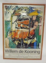 FRAMED WILLEM DE KOONING MUSEUM POSTER, 1984. 19 1/4 IN X 27 IN