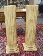 PAIR OF DECORATIVE FAUX MARBLE COLUMN PEDESTALS. 39 1/4 IN H