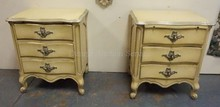 PAIR OF RUDER, NEW YORK PAINT DECORATED 3 DRW NIGHTSTANDS.
