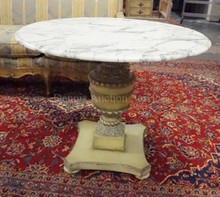 PAINT DECORATED ROUND PEDESTAL BASE MARBLE TOP TABLE. 36 IN DIA, 28 1/2 IN H