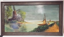 LARGE FRAMED O/B BY J. BIELECKI. 06. WINDMILL AND SAILBOAT. IN A DECORATED FRAME.48 IN X 24 IN