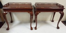 PAIR OF BALL AND CLAW FOOT CARVED MAHOGANY END TABLES W/CIRCLE AND BALL GALLERIES.