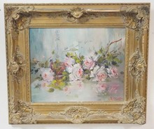 FRAMED O/C STILL LIFE BY  M. WETHERALL MANNA. ROSES. 20 IN X 16 IN