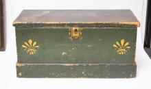 DOVE TAILED AND PAINT DECORATED MINIATURE BLANKET CHEST W/ GLOVE BOX. WALL PAPER LINED. 18 3/4 IN X 9 1/4 IN, 9 3/4 IN H. HAS INITIALS J W A ON TH TOP.