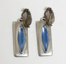 PAIR OF GEORG JENSEN DENMARK PEWTER EARRINGS WITH LIGHT BLUE STONES