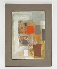 JOHN WELLS (1907-2000) OIL ON BOARD ABSTRACT COMPOSITION TITLED *WEATHERED RED* SIGNED *JOHN WELLS. 1957-9*. 7 1/8 X 10 1/8