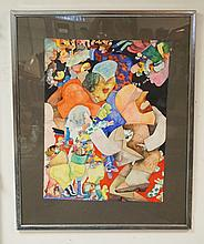 GALDYS NILSSON (1940-) PAINTING ON PAPER TITLED *SUBTERRACHIAL BOP BOOP* 1967. WHITNEY MUSEUM OF AMERICAN ART LABEL ON VERSO. 22 5/8 X 30 1/4 INCHES.
