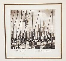 SAMUEL L. MARGOLIES (1897-1974) ETCHING TITLED *BABYLON*. 3 X 2 5/8 INCHES.