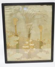 ANTIQUE FRAMED EMBROIDERY WITH METAL COVERED THREADING. 26 1/2 X 33 INCHES.