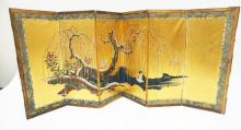 6 PANEL ASIAN TABLE TOP FOLDING SCREEN MEASURING 14 1/2 INCHES TALL AND 33 1/2 INCHES WIDE.