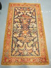 ORIENTAL THROW RUG IN RED & BLUE. 5 FT 2 INCHES X 3 FT.