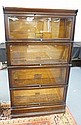 4 STACK OAK SECTIONAL BOOKCASE; GLOBE WERNICKE