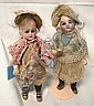 PAIR OF GERMAN MINI DOLLS; 5 IN BISQUE HEAD, C/M,