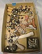 BOX LOT OF DOLL PARTS; GLASS EYES, MISC PLASTIC,