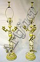 PR OF FIGURAL METAL PAINT DECORATED CANDELABRA