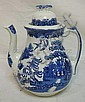 J M & S STAFFORDSHIRE BLUE WILLOW TEAPOT; 10 IN H