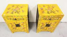 PAIR OF PAINT DECORATED ASIAN STANDS WITH BUTTERFLIES AND FLOWERS. 15 3/4 X 12 1/2 INCH TOPS. 23 3/4 INCHES HIGH.