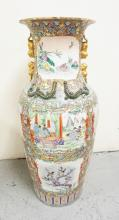 LARGE ASIAN PORCELAIN FLOOR VASE DECORATED WITH LIZARDS, BIRDS, FLOWERS, AND FIGURES. CHIP ON ONE LIZARD AND A QUARTER SIZED PAINT CHIP. 43 INCHES HIGH.